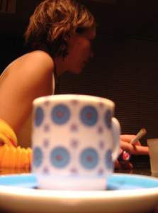 woman and coffee cup