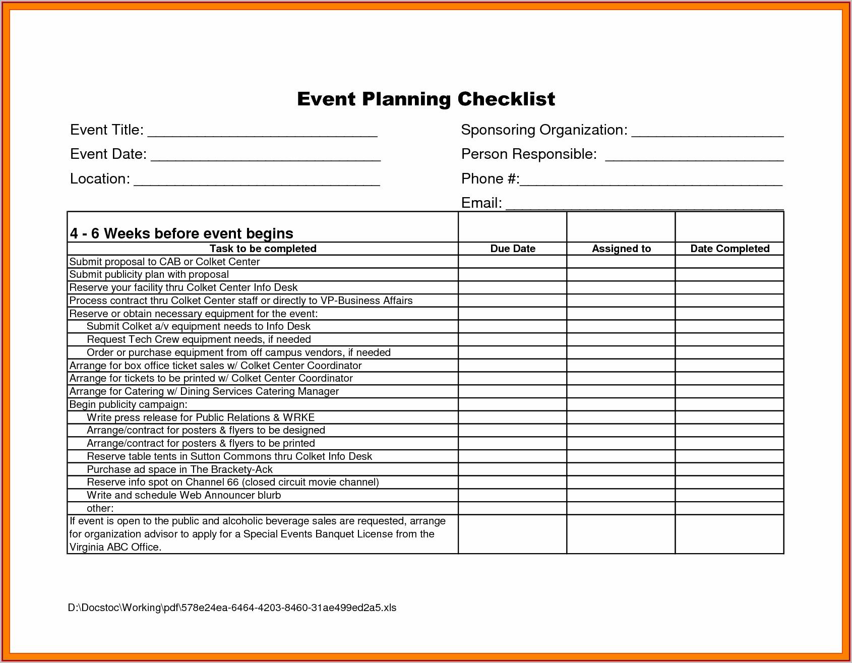 Event Planning Worksheet Template