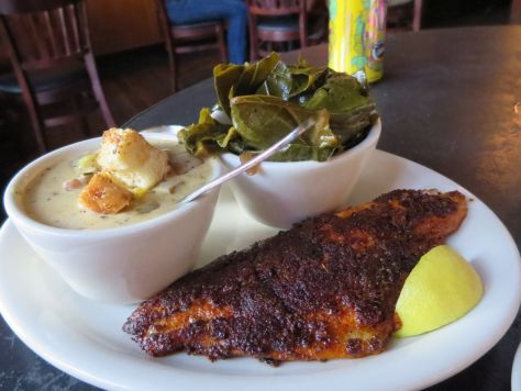 Blackened catfish with collard greens and crawfish chowder