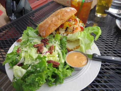 Grilled Shrimp Sandwich with house salad Bread and Ink Cafe Portland
