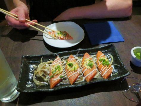 Seared salmon So-Ya Izakaya Victoria BC
