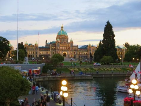 Victoria BC Parliament Building lit up at night