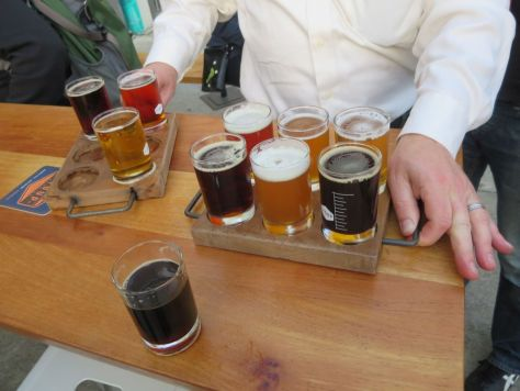 Tasters at The Stoup Seattle Cycle Saloon tour