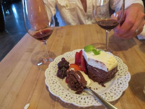 Chocolate mousse cake at Wine O Clock in Prosser Vintner's Village