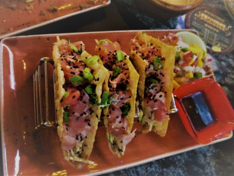 Ahi Tuna Tacos at the Cadillac Tequila Bar in the Golden Nugget