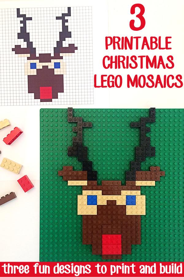 Lego Mosaics For Kids 3 Printable Christmas Building