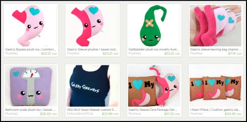 Gastric sleeve-themed items by Etsy craftspersons