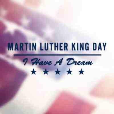 martin luther king day text on usa flag background