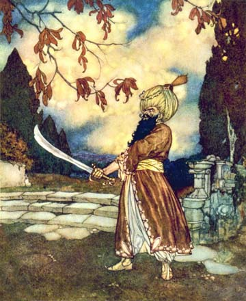 Bluebeard with sword, by Edmund Dulac