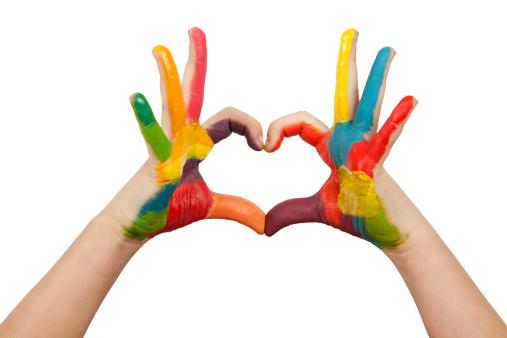 Heartshaped Painted Hands