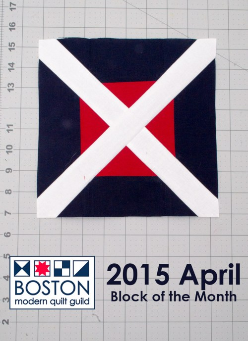 Boston Modern Quilt Guild - 2015 April BOM - Cross-Cut Block