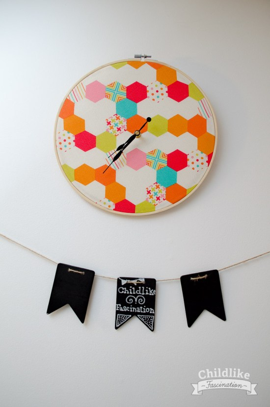 Embroidery Hoop Clock with fun Fabric