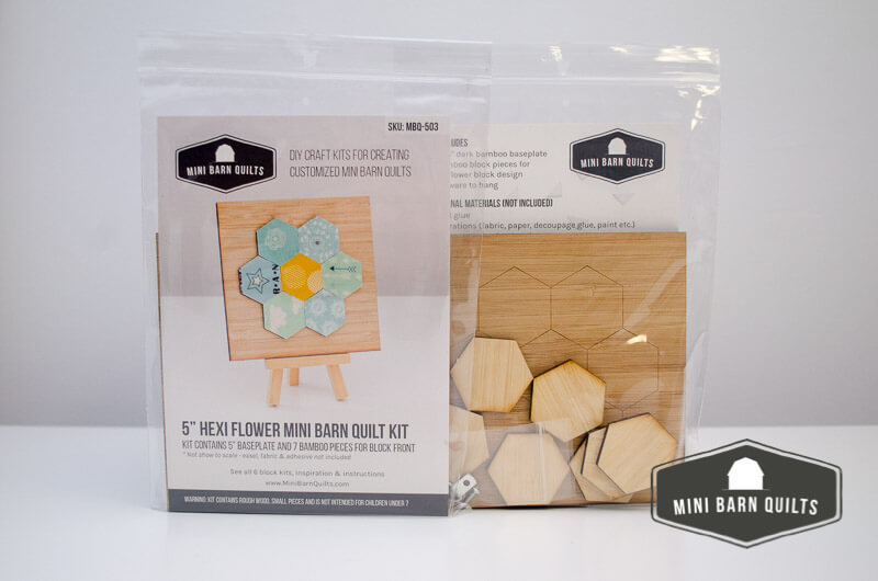 Hexiflower Mini Barn Quilt Kit bagged up for DIY time!