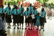 "Schoolchildren singing during the national launch of the campaign ""Children, Not Soldiers"". ©UNMISS"