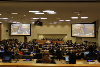 Leila Zerrougui presents her annual report to the United Nations General Assembly. Copyrights: OSRSG-CAAC