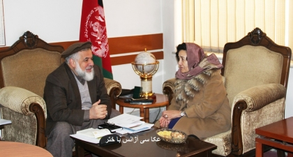 Leila Zerrougui discussed the protection of children with Afghan Minister of Justice Abdul Basir Anwar. ©UNAMA