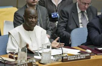 Olara Otunnu, the Special Representative for Children and Armed Conflict, at the Security Council on the day of the adoption of Resolution 1612. Copyrights: UN Photo