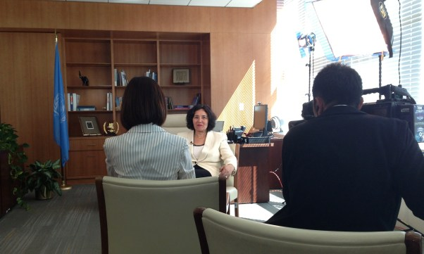 SRSG Zerrougui interviewed by Japanese television.