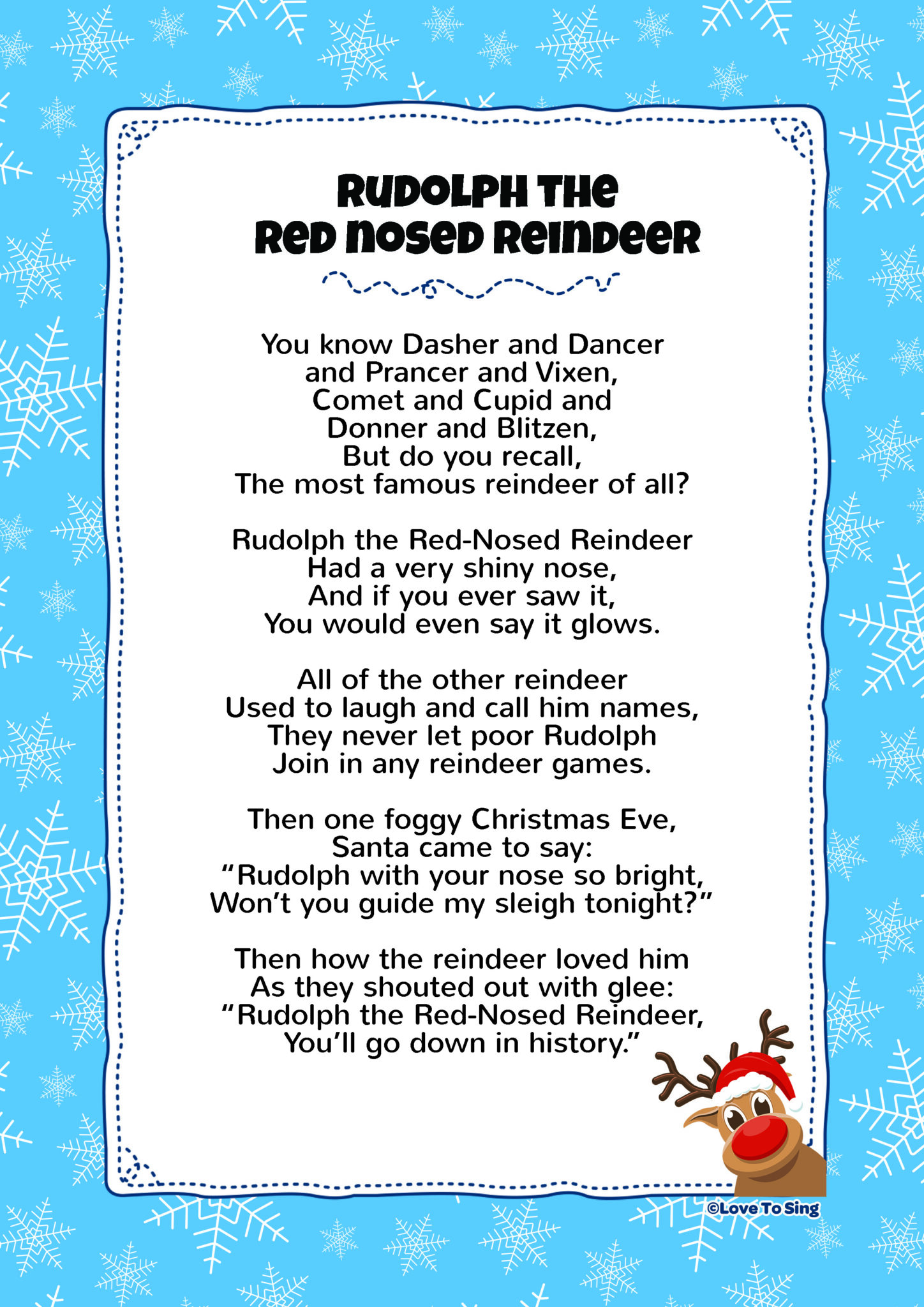 Lyrics Rudolph The Red Nosed Reindeer Printable That Are