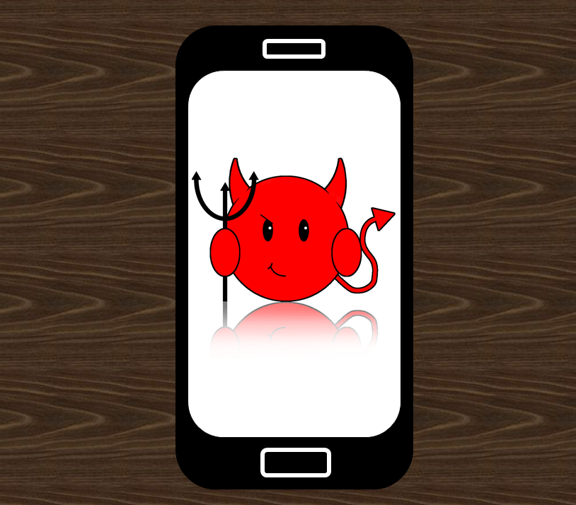 devil on smart phone