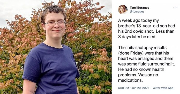 A 13-year-old Michigan boy died June 16, three days after he received his second dose of Pfizer's COVID vaccine.