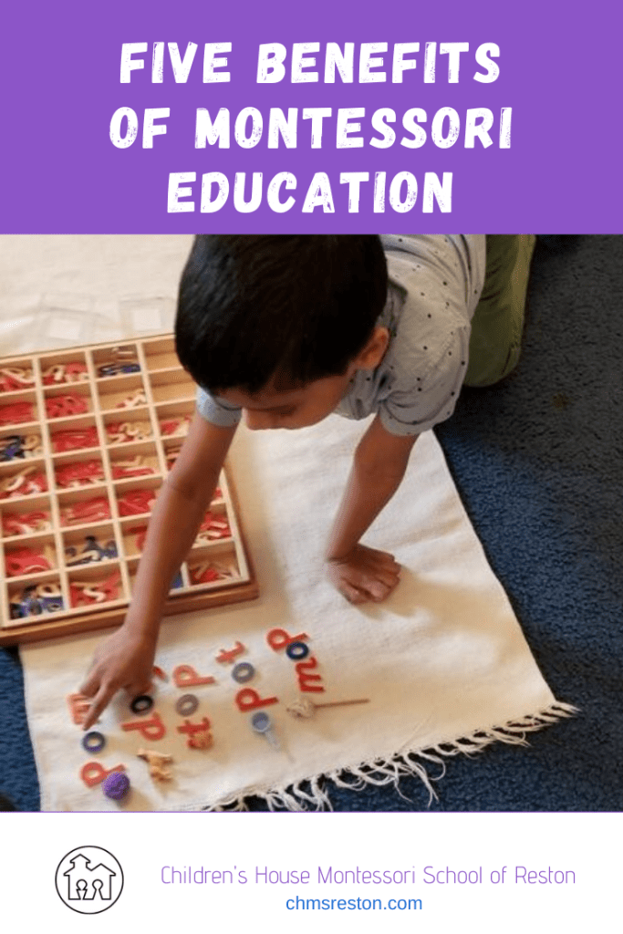 "Pin image ""five benefits of Montessori education"" child using moveable alphabet"