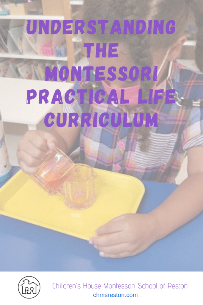"Pin Image for ""understanding the Montessori Practical Life curriculum"" girl pouring water"