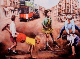Illustration of a group of young people playing in a street in Glasgow