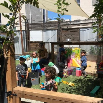 Our rear garden is an environment of many textures! From our nature area to our large sand pit and living branch hut, opportunities for inquiry and adventure abound!