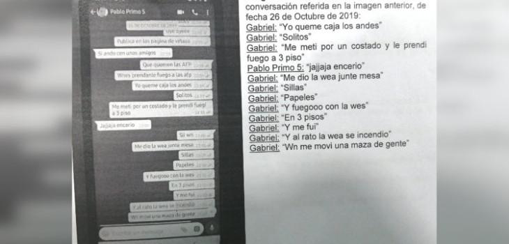 Fiscalía revela conversación de WhatsApp de formalizado por quemar Caja Los Andes en Concepción