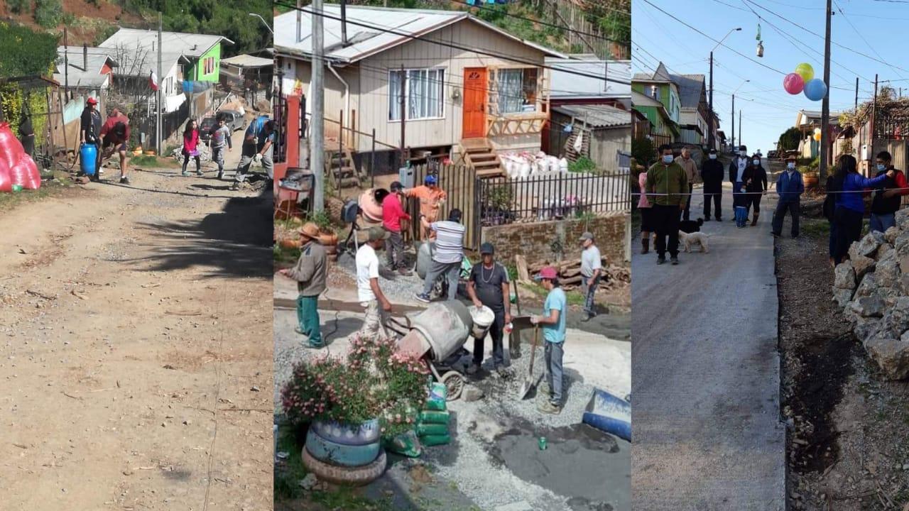 Vecinos de Lota SE ABURRIERON del municipio y PAVIMENTARON ellos mismos su CALLE DE TIERRA