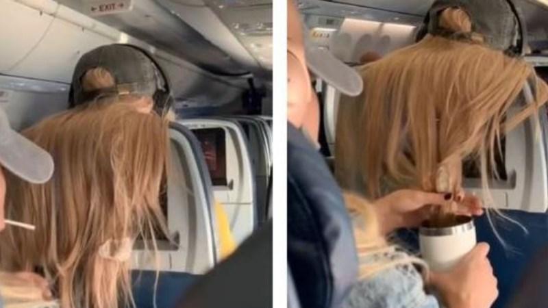 Mujer LLENA DE CHICLES pelo de pasajera que iba sentada delante suyo en vuelo de avión por INVADIR ESPACIO VITAL