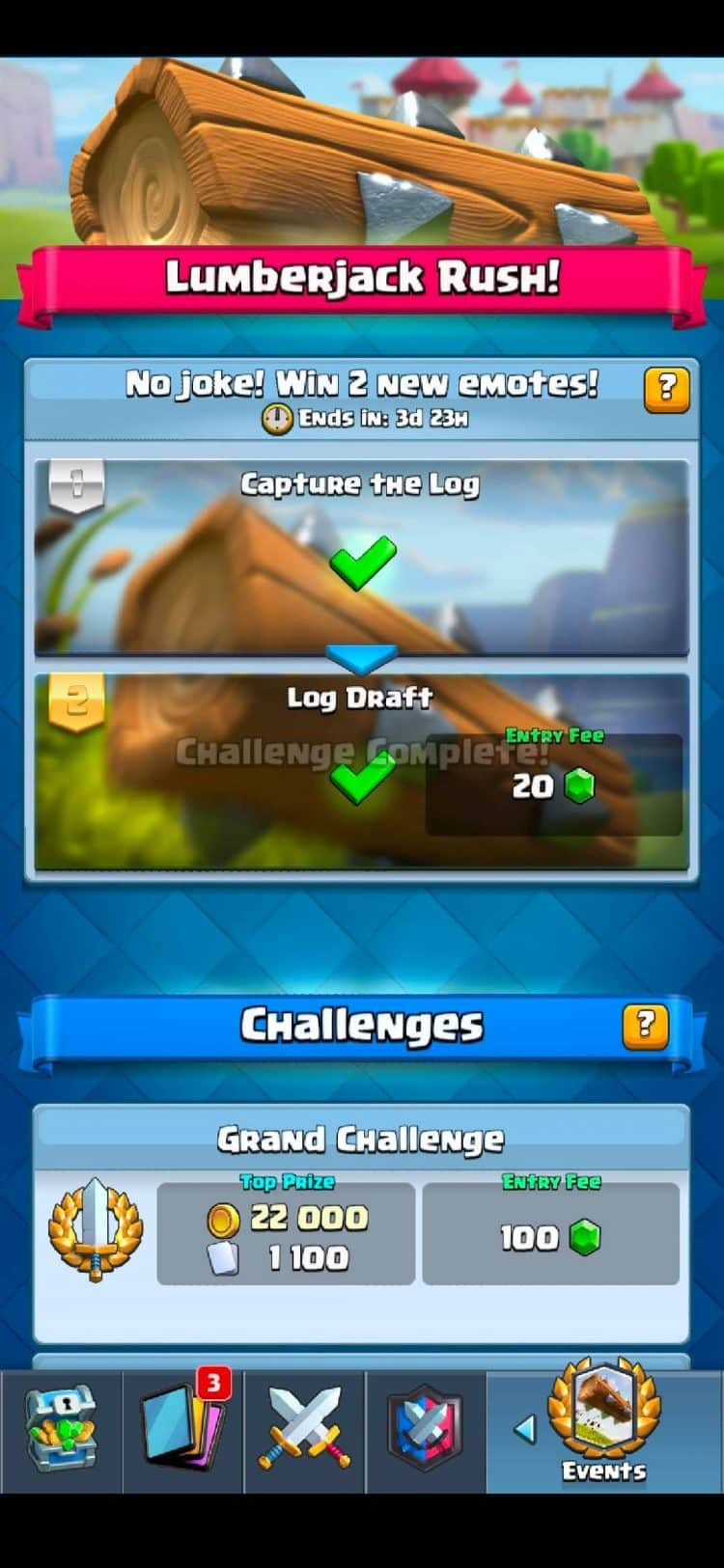 Clash Royale New Lumber Jack Rush Challenge