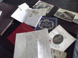 Some of the resources I had - photo albums, family records, newspaper clippings, memoirs, letters, family trees, etc.
