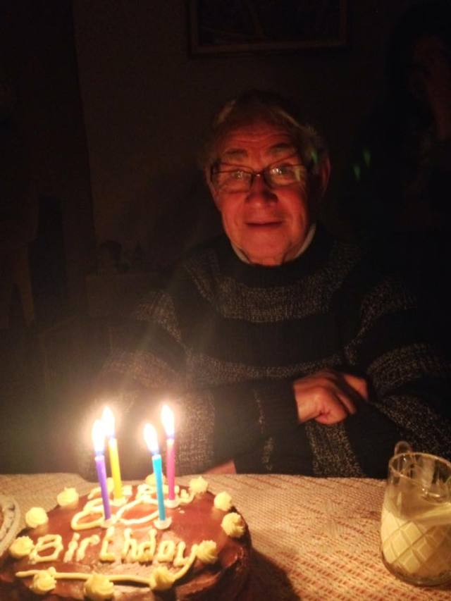 Happy days grandad with his birthday cake
