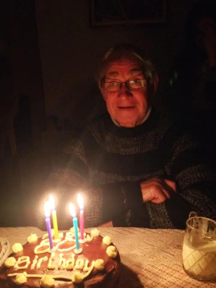 Happy days grandad with his birthday cake