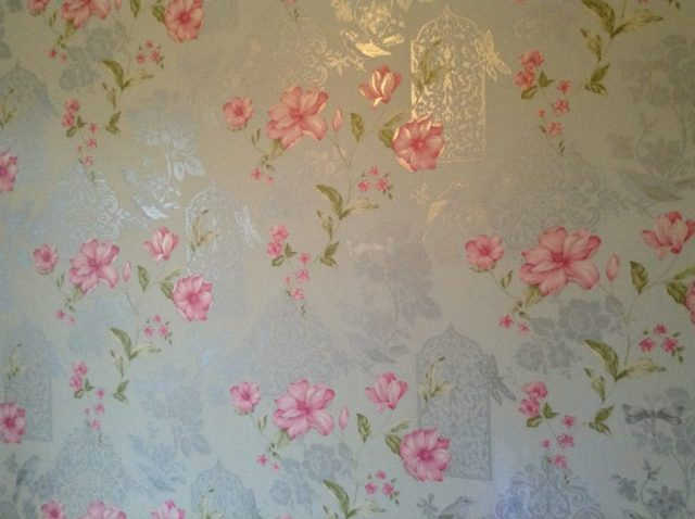 bedroom makeover, crown powder blue and cherry pink floral wallpaper with silver etched birds and glitter details