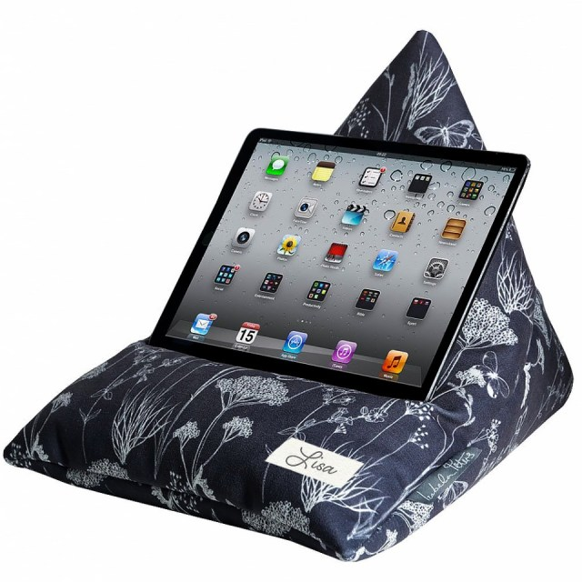 Valentines gift ideas a blue ipad beanbag stand with white floral pattern. The ipad is stood on it