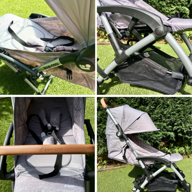 Maxi-Cosi Laika review a collage of 4 photos of the grey pram with green bushes and grass around