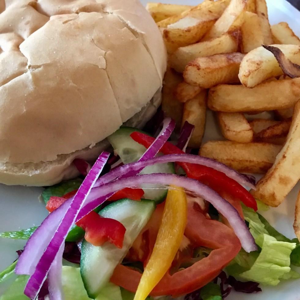 1817 restaurant, Standish. Burger, chips and salad