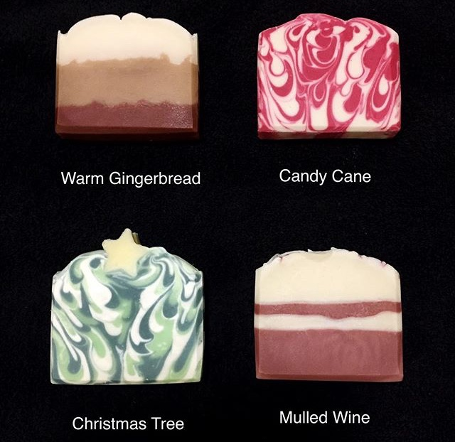 Women's gift ideas 4 soaps on a black background