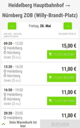 Verbindung und Preise mit dem Fernbus