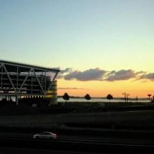 Morgenröte am Flughafen in Stuttgart