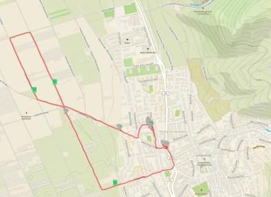 Eine Openstreetmapkarte des Neuenheimer Felds mit eingezeichneter Laufroute