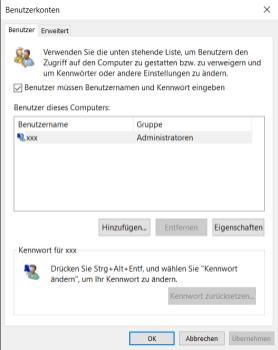 Bildschirmfoto des Benutzerdialogs bei netplwiz, Die Option Benutzer müssen Bewnutzernamen und Passwort eingeben ist gewählt