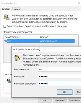 Bildschirmfoto des Benutzerdialogs bei netplwiz, Die Option Benutzer müssen Bewnutzernamen und Passwort eingeben ist nicht gewählt, Das Anmeldepasswort muss zwei Mal eingegeben werden.