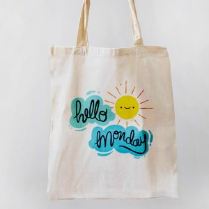 Hello Monday Canvas Tote-bag Freesize, Custom our iTee template and make it yours. Product View