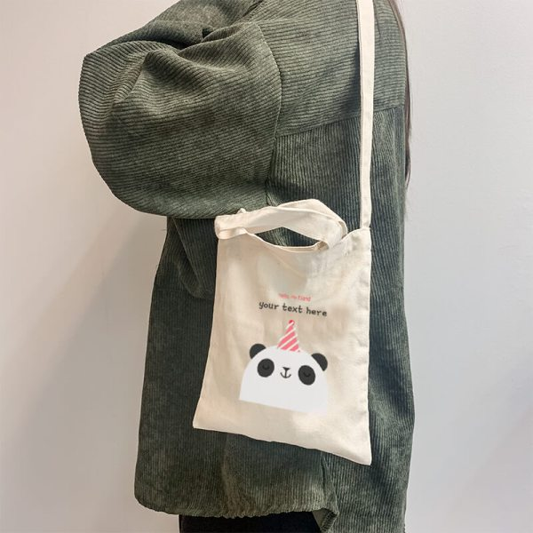 Hello Panda Mini Canvas Tote-bag, Custom our iTee template and make it yours. Model View