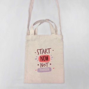 Start Now, Not Tomorrow Mini Canvas Tote-bag, Custom our iTee template and make it yours. Product View