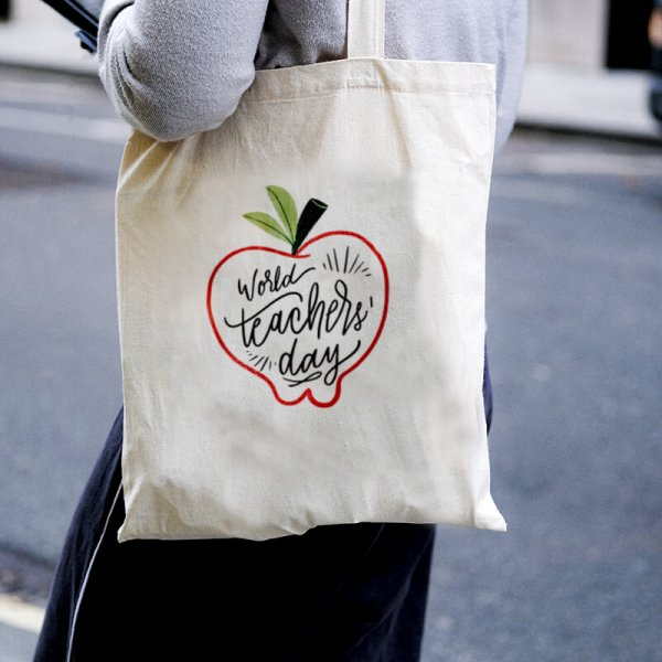 World's Teacher Day Canvas Tote-bag Freesize, Custom our iTee template and make it yours. Model View